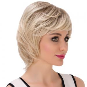 Short Inclined Bang Straight Colormix Layered Synthetic Wig -