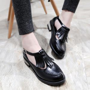 Stitching Fringe T-Strap Flat Shoes -