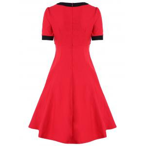 Retro High Waist Buttoned Contrast Color Dress -