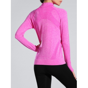 Space-Dyed Zip Slim Sporty Running Jacket - ROSE RED L