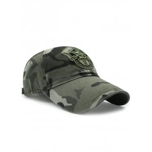 Casual Shield Embroidery Camouflage Pattern Baseball Hat -