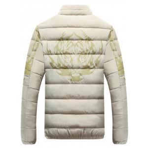 Stand Collar Tiger and Graphic Print Zip-Up Down Jacket - APRICOT L