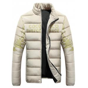 Stand Collar Tiger and Graphic Print Zip-Up Down Jacket -