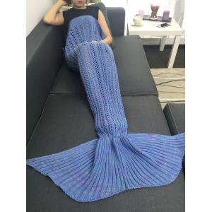 Hollow Out Crochet Knitting Mermaid Tail Style Blanket - BLUE