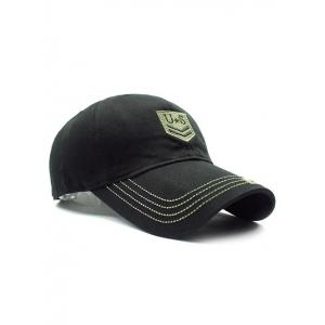 Casual USA Shield Embroidery Baseball Hat - BLACK