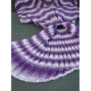 Super Soft Knitting Wave Stripe Mermaid Tail Style Blanket - PURPLE