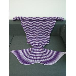 Super Soft Knitting Vague Stripe Mermaid Tail style Blanket - Pourpre