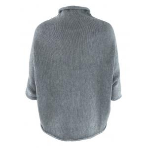 Asymmetric 3/4 Sleeve Cardigan - GRAY ONE SIZE