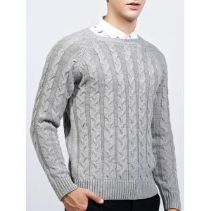 Round Neck Raglan Sleeve Cable-Knit Sweater - GRAY 2XL