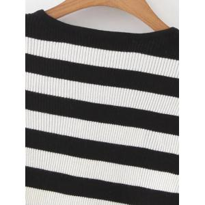 Slit Sleeves Striped Ribbed Pullover -