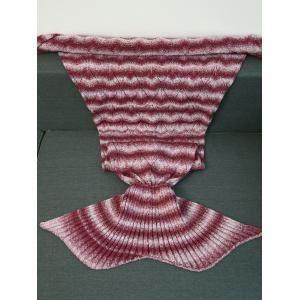 Knitting Vague Stripe Super Soft Mermaid Tail style Blanket - Rouge