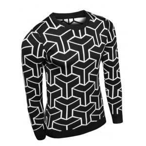 Crew Neck Geometric Print Long Sleeve Sweater -