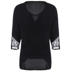 Keyhole Neck Lace Spliced Hollow Out Sleeves T-Shirt -