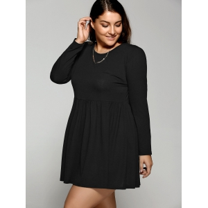 Plus Size Long Sleeve Pleated Mini Skater Dress -