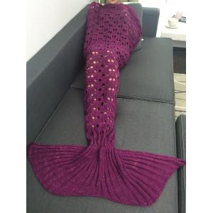 Heart Hollow Out Crochet Knitting Mermaid Tail Style Blanket - RED VIOLET