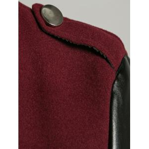 Stand Collar PU Spliced Wool Blend Trench Coat - WINE RED 2XL