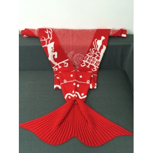 High Quality Christmas Snows Design Knitted Mermaid Tail Blanket - RED