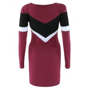 Long Sleeve Color Block Bodycon Dress - WINE RED XL