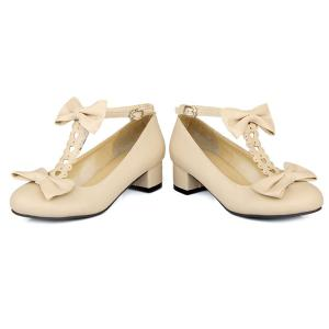 Hollow Out Double Bow T-Strap Pumps -