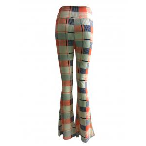 High Waist Checkered Print Trumpet Pants -