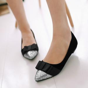 Glitter Color Block Bow Flat Shoes -