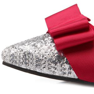 Glitter Color Block Bow Flat Shoes - RED 40
