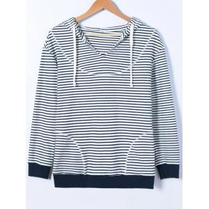Striped Contrast Trim Drawstring Hoodie -