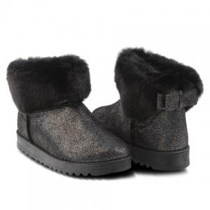 Sequin Bow Faux Fur Snow Boots -