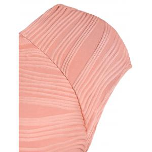 Textured Shadow Knee Length Stripe Bodycon Dress - PINK 2XL