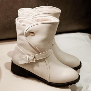 Flat Heel Belt Buckle Short Boots - OFF WHITE 41