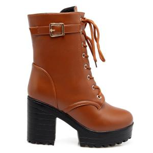 Buckle PU Leather Chunky Heel Lace-Up Boots - LIGHT BROWN 43