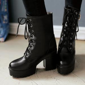 Buckle PU Leather Chunky Heel Lace-Up Boots -