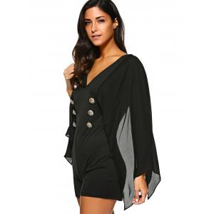 Cape Sleeve Button Embellished Romper -