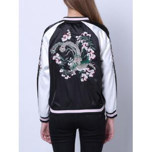 Raglan Sleeves Zipped Embroidered Jacket -