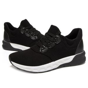 Splicing PU Leather Lace-Up Athletic Shoes -