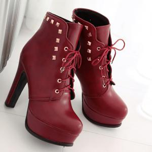 Lace-Up Rivet Chunky Heel Boots - RED 43