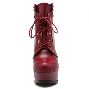 Lace-Up Rivet Chunky Heel Boots - RED 41