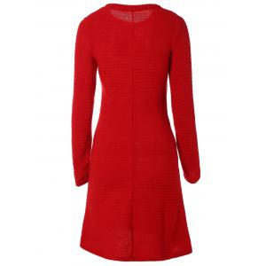Long Sleeve Ribbed Sweater Dress -