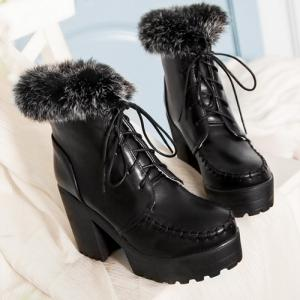 Lace-Up Faux Fur Chunky Heel Boots -