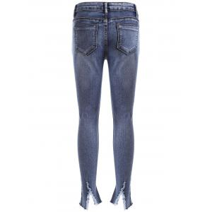 Ripped BF Ankle Pencil Jeans - DENIM BLUE 30