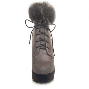 Lace-Up Faux Fur Chunky Heel Boots - GRAY 39