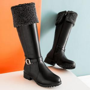 Buckle Faux Shearling Mid-Calf Boots - BLACK 43