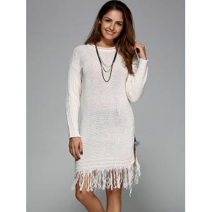 Split Fringed Pullover Sweater -