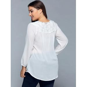 Plus Size Lace Insert Chiffon Blouse - WHITE 5XL