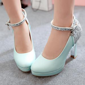 Ankle Strap Chunky Heel Sequin Pumps - BLUE 43