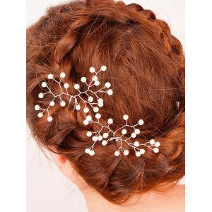 Faux Perle alliage Floral Hairpin - Blanc Perle