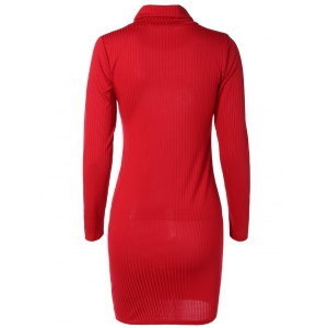 Knit Turtleneck Ribbed Fitted Sweater Dress - RED XL