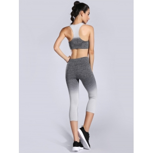 Racerback Bra and Stretchy Ombre Leggings Suit -