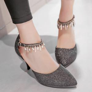 Two-Piece Pendant Sequined Pointed Toe Pumps -