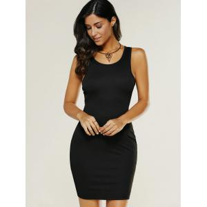 Criss Cross Mini Tank Dress - BLACK L